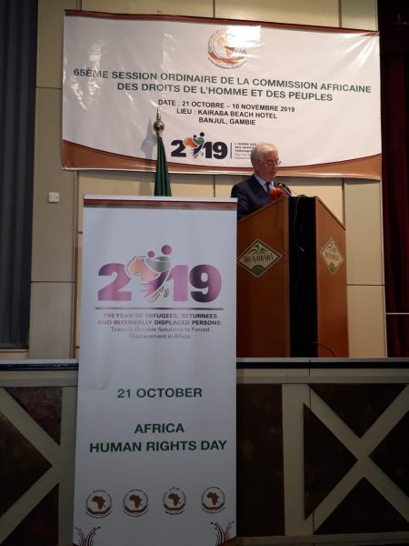 Addressing the opening of the 65th Session of the African Commission on Human and Peoples' Rights in Banjul