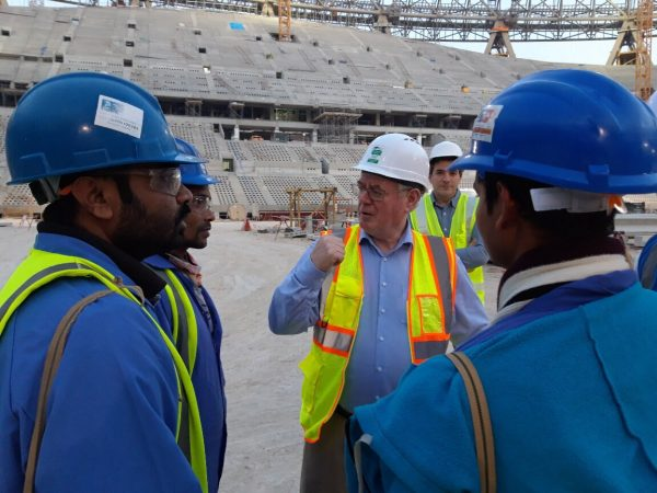 Visit to Lusail Stadium construction site and the labour accommodation